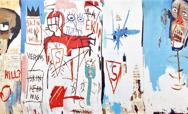"Echarpe en Soie - Basquiat ""Life like of Barney Hill' Détail"