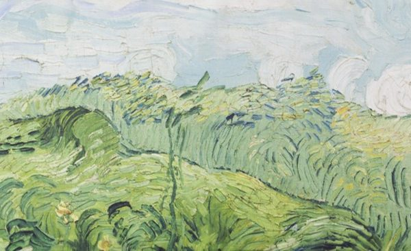 "Echarpe en Soie - ;Van Gogh ""Green Wheat Fields"" Détail"